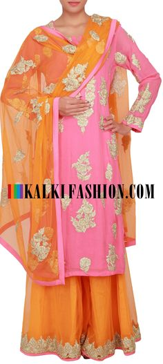 Buy Online from the link below. We ship worldwide (Free Shipping over US$100) http://www.kalkifashion.com/peach-straight-fit-suit-enhanced-in-zari-embroidered-butti-only-on-kalki.html
