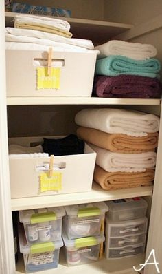 Smart idea: keep the big towels folded seperately and use baskets for small linens! My biggest closet problem is that the small linens and towels always end up in a jumbled mess!