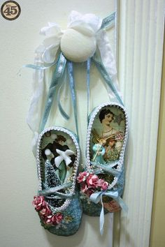 Love how Denise Hahn hung her Twelve Days of Christmas altered slippers and used the beauties as a door hanger! #graphic45
