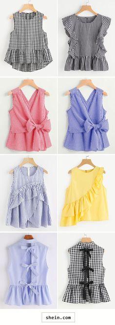 Sleeveless tops for summer - Damen Mode 2019 Little Girl Dresses, Girls Dresses, Girl Fashion, Fashion Outfits, Fashion Design, Dress Fashion, Dress Outfits, Diy Clothes, Clothes For Women