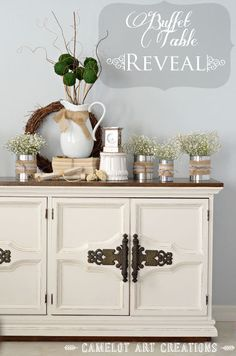 antique buffet makeover, painted furniture