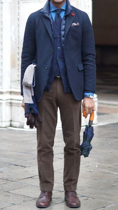 Blue shirt, tie, & jacket over brown pants & dress shoes - & an umbrella, of course! men's office #fashion