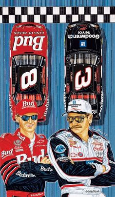 "Sam Bass Signed Dale Earnhardt & Jr. ""THE FUTURE IS NOW""  Official Nascar Artist"