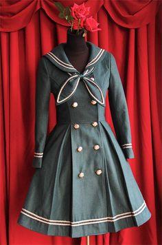 Coat Sailor Collar Woolen Green