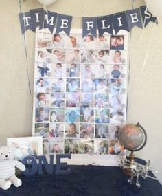 """Time Flies"" photo board from a Time Flies Vintage Airplane 1st Birthday Party on Kara's Party Ideas 