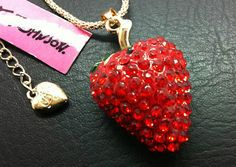 N095 Betsey Johnson beautiful red strawberry pendant Enamel crystal necklace. - http://designerjewelrygalleria.com/betsey-johnson/n095-betsey-johnson-beautiful-red-strawberry-pendant-enamel-crystal-necklace/