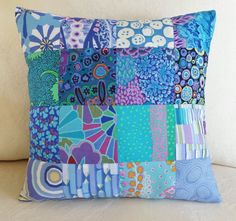 Hand-Stitched Blue Patchwork Cushion by LavenderBluDesigns on Etsy