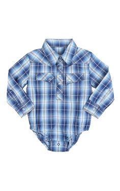 Wrangler® All Around Baby™ Boys Blue & Turquoise Plaid Long Sleeve Western Onesie