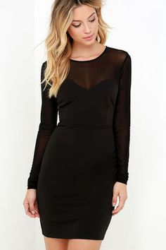 LuLu*s Exclusive! You better grab it before it's gone, because the Sheer Today, Gone Tomorrow Black Bodycon Dress is a hot seller! A darted sweetheart bodice composed of stretchy poly fabric is topped by a sheer mesh decolletage and long sleeves. Large keyhole detail with button closure at back. Hidden back zipper with clasp.