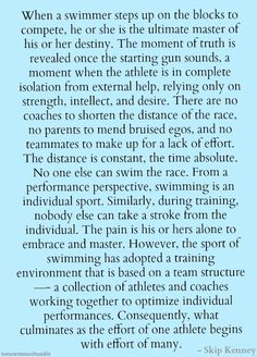 ~ Skip Kenney, head coach for the Men's Standford Swim Team