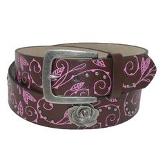 A fun and elegant belt has a western look to it. 1.5 inches or 38mm wide. Antiqued silver buckle matches the accents of Roses and small studs. Engraved vine pattern is highlighted in a contrast color.
