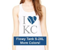 Support your Kansas City Royals with this adorable I LOVE KC Baseball flowy racerback tank in 4 colors with a glitter design! This tank is a favorite
