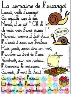"""LaCatalane à la maternelle...: Comptine : """"La semaine de l'escargot"""""""