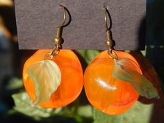 Peach earrings chunky lucite beads pink orange by TheSnowglobeRing, $11.99