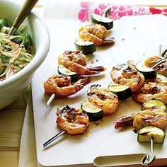 Asian Shrimp and Zucchini Skewers with Noodle Salad | MyRecipes