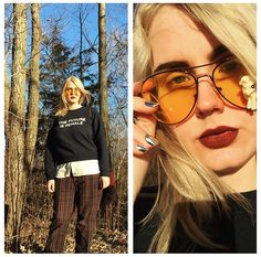 Get this look: http://lb.nu/look/8602919  More looks by Elise Hanson: http://lb.nu/user/5929873-Elise-H  Items in this look:  Otherwild Sweatshirt, Mod Cloth Blouse, Macy's Charter Pants, Mony Pony Sunnies, Empress Tips Nails   #alternative #androgynous #boho #casual #eclectic #edgy #grunge #minimal #punk