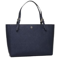 Keep your personal items close at hand in this Tory Burch navy tote bag that matches light and dark outfits. This bag is made of leather for strength. Handbag Material: Leather Handbag Color: Blue Mai