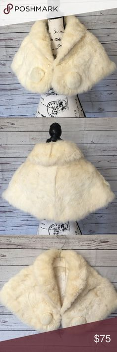 dd4ddb6cd VINTAGE WINTER WHITE RABBIT FUR CAPE WRAP SHAWL VINTAGE WINTER WHITE RABBIT  FUR CAPE WRAP SHAWL