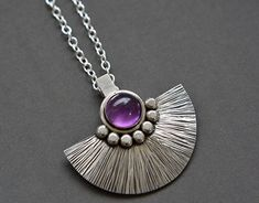Sterling silver necklace with amethyst. Sterling by Kailajewellery