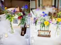 Erlenmeyer flasks, volumetric flasks and test tubes instead of vases, this is super cute!