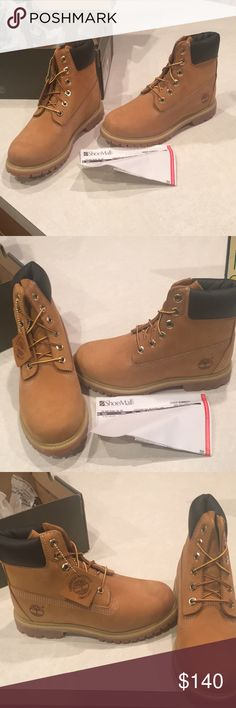 Timberland Boots New in box wheat color. Women's size 6 1/2 paid $169 at shoe mall selling for $140.  Never worn waterproof Timberland Shoes Lace Up Boots