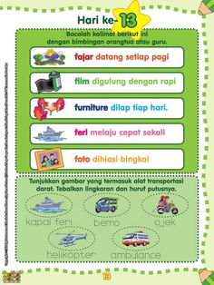 60 Langkah 60 Hari Aku Pintar Membaca dan Menulis Kindergarten Reading Activities, Reading Worksheets, Preschool Learning, Worksheets For Kids, Kindergarten Worksheets, Fun Learning, Baca Online, Selamat Hari Guru, Kids Reading