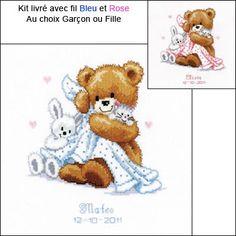 point de croix naissance fille gratuit Cross Stitch Baby, Cross Stitch Embroidery, Cross Stitch Patterns, Le Point, Birth, Teddy Bear, Animals, Style, Block Prints