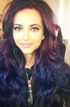 Dark purple with dark blue tips.  Awesome.