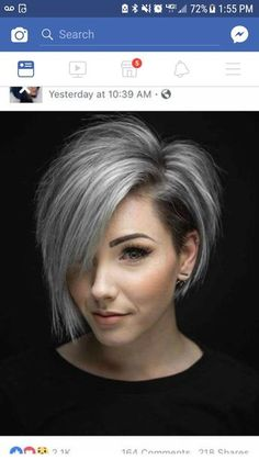 Ok , this is the one Cute Hairstyles For Short Hair, Short Hair Cuts For Women, Hairstyles Haircuts, Trendy Hairstyles, Short Hair Styles, Hair Color And Cut, Pixie Haircut, Great Hair, Silver Hair