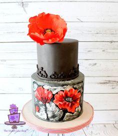2D Buttercream PAINTED & 3D Gumpaste POPPY - Art Inspired Cake