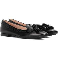 Tod's Embellished Leather Ballerina Shoes ($530) ❤ liked on Polyvore featuring shoes, flats, black, ballet pumps, embellished flats, black skimmer, ballet flats and embellished black flats