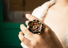 Adjustable Ring, flowers ring, vintage ring , jewelry , bronze, polymer clay flower