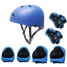 Amazon.com : [KuYou] Kids Sports Knees Elbows Wrists Head Support Protection Helmet Set for Unisex Toddler Children Extreme Sports Youth Roller Bicycle BMX Bike Skateboard Protector Guards Pads -7Pcs(Green) : Sports & Outdoors
