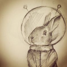 space bunny #art Nora Ann-Frances Martin-Hall - love her style! http://noramaha.tumblr.com/page/25