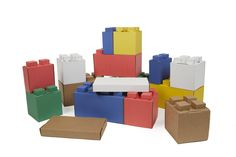 These life-size building blocks are made from recycled, premium, extra thick corrugated cardboard for strength and durability. EverBlock Jr. is Eco-friendly and chemical free.