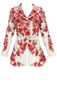 Pale pin red floral embroidered jacket by Varun Bahl.