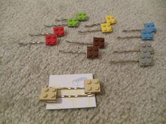 LEGO hair clips! Brilliant idea for the non-girly girl!  From local Austin artist, Jodi Hopper of Art Genius.