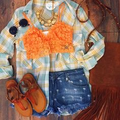 Rise and shine fashionistas! ⛅️ Shop this Tuesday #ootd in our Spring Plaid Blouse ($29.99) Pineapple Denim Cutoffs ($32.99) Fringe Crossbody Tan ($29.99) at #4thandocean Lace Bralette Peach ($14.99 #sophieandtrey) Crossed T-Strap Sandal Camel ($22.99 #statements) All items also available online!! // #getthelook #plaid #bralette #pineapple #shorts #cutoffs #fringe #tan #crossbody #sunnies #summer #shoes #sandals #spring #wiwt #outfit #outfitinspo #inspo #style #fashion #glamour #inspiration