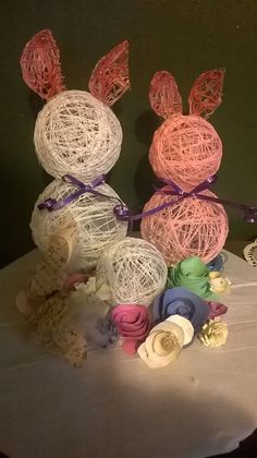 Scrap crafting centerpiece..balloons, glue, paper flowers and a pizza cardboard round...this was just fiddling around with on hand stuff