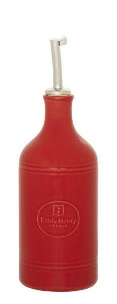 Dozownik do oliwy lub octu - czerwony - Emile Henry - DECO Salon. Beautiful dispenser for #olive oil or #vinegar with a classic, simple shape.#kitchenaccessories #forhome #kuchnia #gift