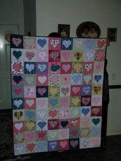 memory quilts from baby clothes with hearts