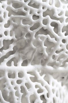"White art | Michael Kukla, American-Czech sculptor and fIne artist. ""Michael Kukla creates organic surfaces by drilling and grinding out cellular-like structures in marble or plywood slabs."" This organically designed sculpture looks like a macro of white coral. (More info: http://artists-studios.com/2011/08/michael-kukla/ and http://mkukla.com/sculpture/.) #white #texture #art"