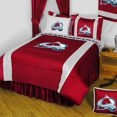 NHL Colorado Avalanche King Comforter Pillowcases Set Hockey Team Logo Bed ** ON SALE Check it Out