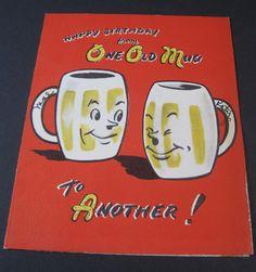 Used Vintage Greeting Card Anthropomorphic Beer Mugs w Pretzel Letters
