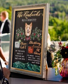 Framed blackboard sign painted with recommended cocktails {Table 6 Productions} Tonic Water, Gin And Tonic, Arizona Wedding, California Wedding, Drink Signs, Lime Wedge, Destination Wedding Planner, Wedding Signage, Signature Cocktail