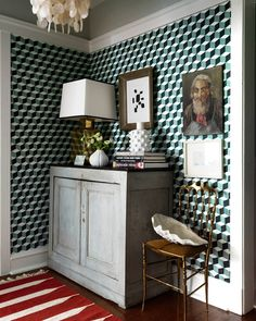 """6,979 Likes, 88 Comments - House Beautiful (@housebeautiful) on Instagram: """"Raise your hand if you're in love with that geometric wall covering. ✋ (: @jonnyvaliant   Design:…"""""""
