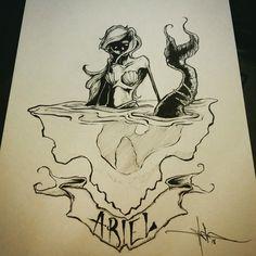 Drawing by Shawn Coss #ariel #disney #princess #mermaid #shawncoss