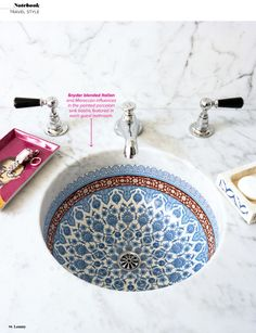 More Snyder blended Italian and Moroccan influences in the painted porcelain sink basins featured in each guest bathroom.Snyder blended Italian and Moroccan influences in the painted porcelain sink basins featured in each guest bathroom. Bathroom Inspiration, Interior Inspiration, Bathroom Ideas, Bathroom Inspo, Bathroom Renovations, Remodel Bathroom, Budget Bathroom, Bathroom Hacks, Bathroom Makeovers