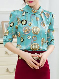 Chic Stand Collar Long Sleeve Chain Print Blouse For Women