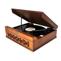 Pyle Vintage Style Phonograph/Turntable With USB-To-PC Connection (Dark Maple)